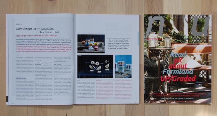 """NU buyer's magazine, jan/feb 2014, side 16 – 17.Artikel omkring samarbejdet og min skammel PickMe """"Ikondesign og ny innovation fra Lucie Kaas"""""""