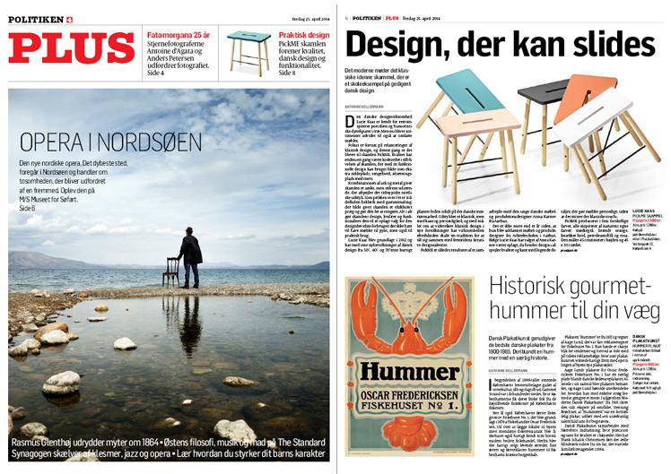 """Politiken PLUS, fre. 25. april 2014, forside + side 8.""""Design, der kan slides"""""""